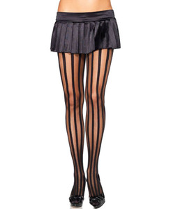 Leg Avenue - Sheer Pantyhose With Opaque Vertical Stripes