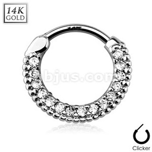 Round Paved Gems 14Kt Gold Septum Clicker