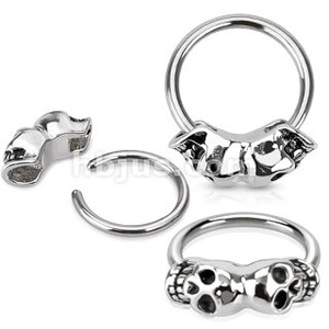 Twin Skull Captive Bead Ring