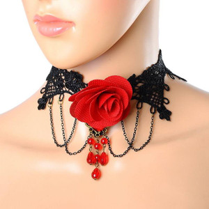 Black Lace and Red Rose Choker