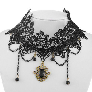 Black Lace and Black Gem Pendant Choker