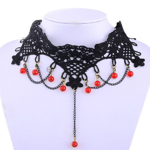 Black Lace and Red Studs Choker