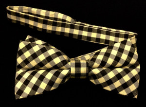 Yellow and Black Checkered Bow Tie