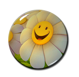 "Smiley Sunflower 2.25"" Pin"