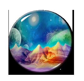 """Cosmic Mountains 2.25"""" Pin"""