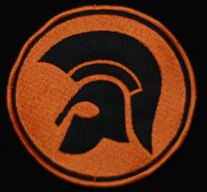 "Trojan Logo 3x3"" Orange and Black Embroidered Patch"