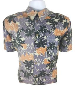 Antifashion - Leaf Print Short Sleeve Button-Up Shirt