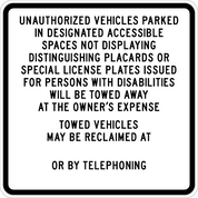 R100B  UNAUTHORIZED PARKING - BLACK/ WHITE