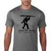 Sasquatch Surfer. Living the Dream men's t shirt. Grey