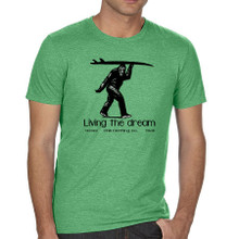 Sasquatch Surfer. Living the Dream men's t shirt. Heather Green