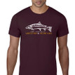 Fish Skeleton Logo T Shirt. Maroon