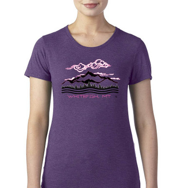 Whitefish Mountains women's T Shirt heather aubergine