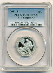 2012 S Clad El Yunque NP Quarter Proof PR70 DCAM PCGS Blue Label