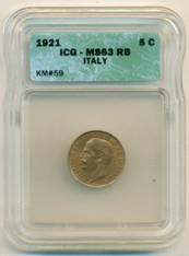 Italy 1921 R 5 Centesimi KM-59 MS63 RB ICG