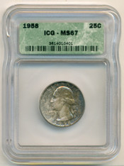 1958 Washington Quarter MS67 ICG