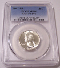 1947 S/S Washington Quarter RPM Variety FS-501 MS66 PCGS