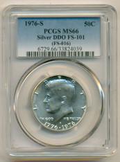 1976 S Silver Kennedy Bicentennial Half Dollar DDO Variety FS-101 MS66 PCGS