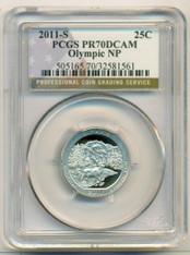 2011 S Clad Olympic NP ATB Quarter Proof PR70 DCAM PCGS Flag Label