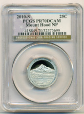 2010 S Clad Mount Hood NP ATB Quarter Proof PR70 DCAM PCGS Flag Label