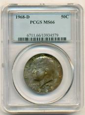 1968 D Kennedy Half Dollar 50 Cents MS66 PCGS Color