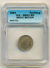 Great Britain 1884 Farthing MS63 RED ICG