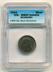 Denmark 1853 Rigsbankskilling KM-756 MS60 Details ICG