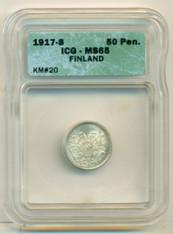 Finland Silver 1917 S 50 Pennia No Crown MS65 ICG