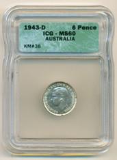 Australia Silver 1943 D 6 Pence MS60 ICG