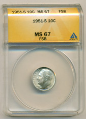 1951 S Roosevelt Dime MS67 FSB ANACS