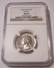 1969 D/D Washington Quarter RPM Variety FS-501 MS66 NGC