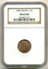 Straits Settlements 1889 1/4 Cent MS63 RB NGC