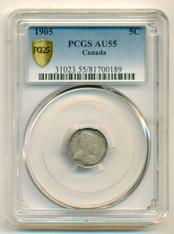 Canada Silver 1905 5 Cents AU55 PCGS