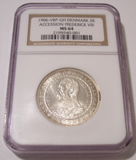 Denmark Silver 1906 VBP GH 2 Kroner Accession of Frederick VIII MS64 NGC