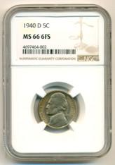 1940 D Jefferson Nickel MS66 6FS NGC