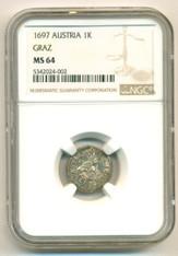 Austria Silver Leopold I 1697 Kreuzer Graz Mint MS64 NGC
