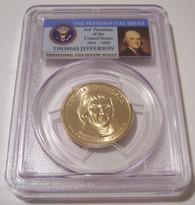 2007 P Jefferson Presidential Dollar Pos A Weak Edge Lettering Error MS66 PCGS FDI