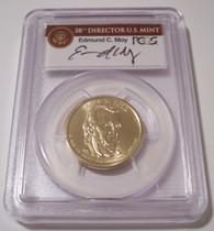 2009 James K Polk Presidential Dollar Missing Edge Lettering Error MS66 PCGS Moy Signed