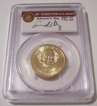 2008 Van Buren Presidential Dollar Missing Edge Lettering Error MS66 PCGS Moy Signed