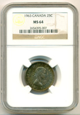 Canada Silver 1963 25 Cents MS64 NGC Color-Toned