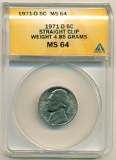 1971 D Jefferson Nickel Error Straight Clip MS64 ANACS