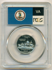 2000 S Clad Virginia State Quarter Proof PR70 DCAM PCGS Flag Label