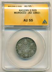 Morocco Silver AH1299 (AD 1882) 2 1/2 Dirhams AU55 ANACS