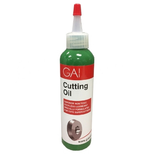 GAI Cutting Oil is an odorless, synthetic lubricant specifically formulated for self-oiling glass cutters. It is non-corrosive and water soluble for easy clean up. Sold by 4 ounce bottle.