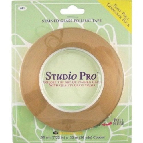 """Studio Pro Foil offers outstanding tack and remarkable resistance to temperature and weathering. All foils attach securely to glass edges and corners to provide a smooth, uniform solder bead. The unique """"Easy Pull"""" plastic dispenser makes for trouble-free application and kink-free storage. This foil is copper backed and is available in 3/16"""", 7/32"""" and 1/4"""" widths. Sold in 36 yard roll."""
