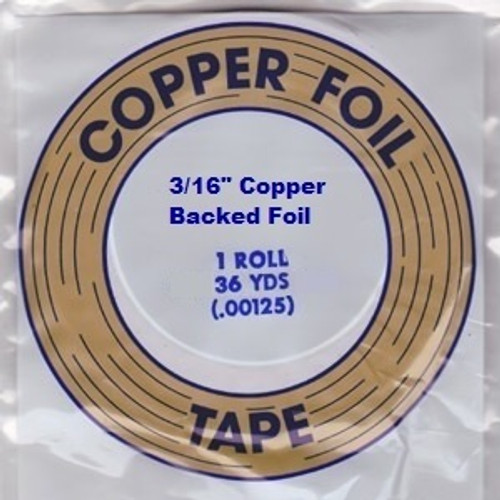"""EDCO foil is made with dead soft copper that conforms easily to the shape of the stained glass. EDCO brand is known for its superior adhesion and resistance to all of the chemicals used in stained glass. This foil is copper backed, 1.25 mil thickness and is available in 3/16"""", 7/32"""", 1/4"""" & 1/2"""" widths. Proudly made in the USA. Sold in a 36 yard roll."""