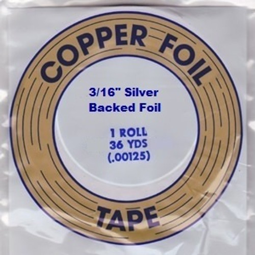 "EDCO foil is made with dead soft copper that conforms easily to the shape of the stained glass. EDCO brand is known for its superior adhesion and resistance to all of the chemicals used in stained glass. This foil is coated with a silver backing, 1.25 mil thickness and is available in 3/16"", 7/32"" & 1/4"" widths. Proudly made in the USA. Sold in a 36 yard roll."