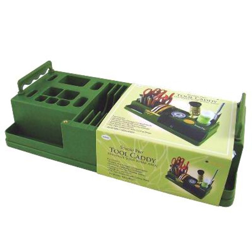 A beautifully made tool caddy designed for organizing, storing and transporting stained glass tools and accessories. Made with high density ABS plastics, this caddy has deep compartments to safely house tools, supplies and loose parts. Comfort grip handle for easy lifting. Measures 14-1/4L x 6-1/4W x 3-3/4H (unassembled).