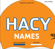 Set Of 2 Silicone Caps with swimmer Name- HACY