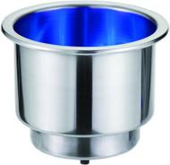 Recessed S/S Drink Holder - 12v blue LED