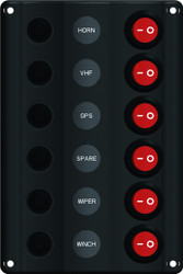 Wave Design Switch Panel with Circuit Breaker - 6 Switches